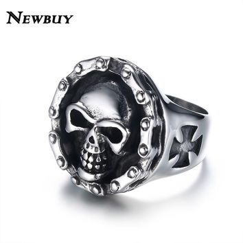 Punk Jewelry Cool Statement Stainless Steel Skull Ring For Men