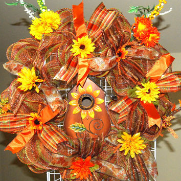Fall Sunflower Bird House Deco Mesh Wreath by KraftyKreations4You