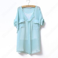 Discount China china wholesale Women's Round Neck Chiffon Bat Short Sleeve Vest 2 peices [30584] - US$12.49 : Bluelans