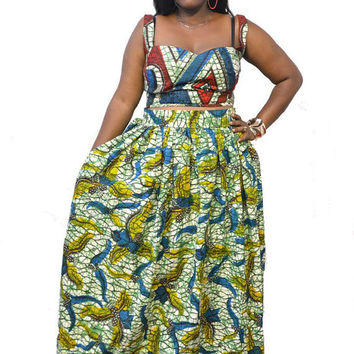 Largo - Plus Size African Print Maxi Skirt
