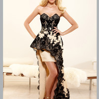 Sweetheart Lace Accent Peplum High Low Terani Couture Prom Dress P3154