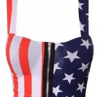 Crazy Girls Womens USA American Flag Stars & Stripes Leggings Bralet