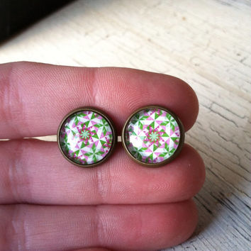 Stud Earrings - 12mm Colorful Glass Stud Earrings, Bronze Post Earrings, Kaleidoscope Pattern Stud Earrings