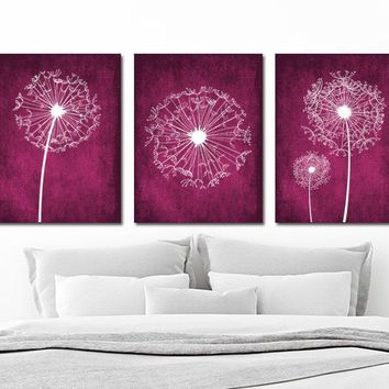 DANDELION WALL ART, Fuchsia Magenta Bedroom Wall Art, Dandelion Canvas or Print Fuchsia Magenta Bathroom Art Decor, Set of 3 Art Pictures