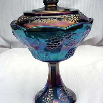 Blue Carnival Glass Stemmed Lidded Compote Grapes Motif Indiana Glass Home and Garden Kitchen and Dining Serve Ware Tableware Bowls