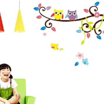 Hot Sale 2016 wall stickers Owl Cartoon Animal Kids Room Wall Stickers Home decor  Mural for kids rooms XT