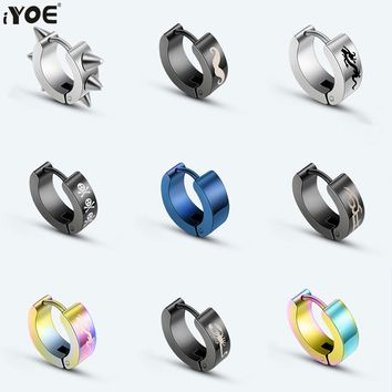 IYOE Punk Men Stud Earrings Titanium Cross Heart Skull Dragon Black Round Circle Earring For Women Buckle Gothic Fashion Jewelry