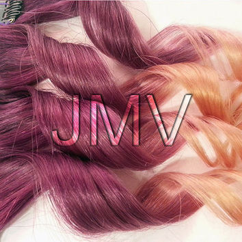"12"" Plumb Kiss 100% human hair Ombre extensions Purple Peach Orange Clip In Straight JMV"