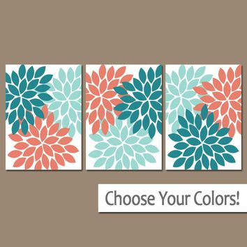 Teal Aqua Coral Wall Art, Bedroom Canvas or Prints Bathroom Decor, Bedroom Pictures, Flower Wall Art, Flower Burst Dahlia Set of 3 Pictures