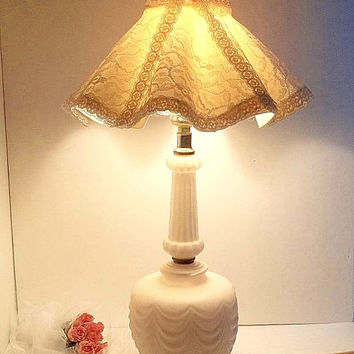 Vintage pink satin glass lamp WITH white shade pink trim Shabby Cottage Chic Mid Century swag detail