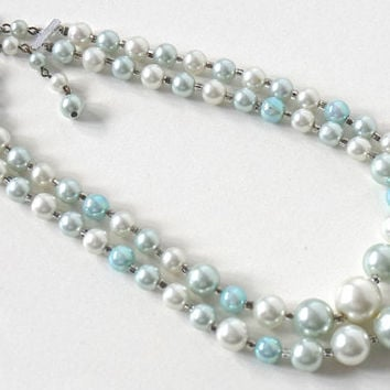 Vintage Bead Necklace,Signed Japan,Ice Blue Necklace,Double Strand Necklace,Pale Blue Beaded Necklace,50s-60s Vintage Jewelry,Something Blue