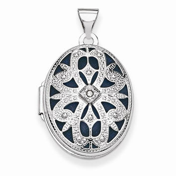 14K White Gold Oval With Diamond Vintage Locket