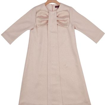 Gem Girls' Pink and Gold Bow Box Pleat Dress