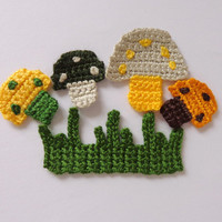 Hand Crochet Applique Mushrooms With Grass 5pcs From Cotton Yarn-  Supplies For Clothing, Hair Clips, Handbags