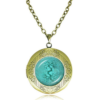 TREE OF LIFE Pendant Bodhi Tree locket Necklace Yin Yang Yoga Tree Jewelry Meditation Jewelry Zen Necklaces tree Reflection 1