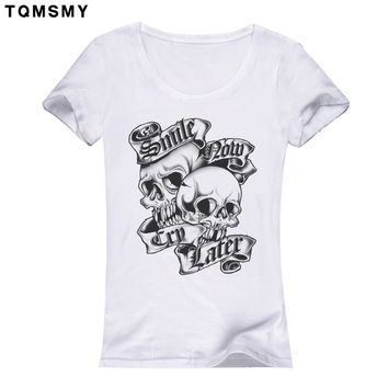 Fashion Women T-shirt Slower Suger Skull Punk T shirt Summer Tops For Female Clothing Rose skull tshirts women