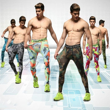 Men run sports pants tights male fitness pants high elastic compression PANTS LEGGINGS basketball running pants [8833619468]