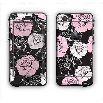The Pink and Black Rose Pattern V3 Apple iPhone 6 Plus LifeProof Nuud Case Skin Set