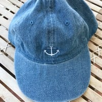 DENIM EMBROIDERY HAT- ANCHOR