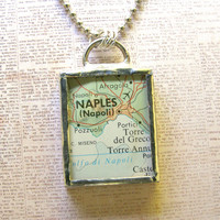Naples Italy Double Sided Map Pendant Necklace
