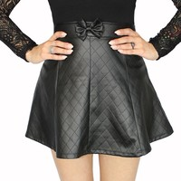 """Women's """"Quilted"""" Pleather Skirt by Demi Loon (Black)"""