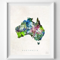 Australia Map, Canberra, Print, Watercolor, Sydney, Melbourne, Home Town, Poster, Country, Nursery, Wall Decor, Painting, Bedroom, World