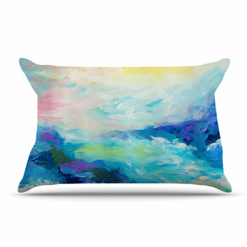 "Ebi Emporium ""Taken By The Undertow"" Green Blue Pillow Case"