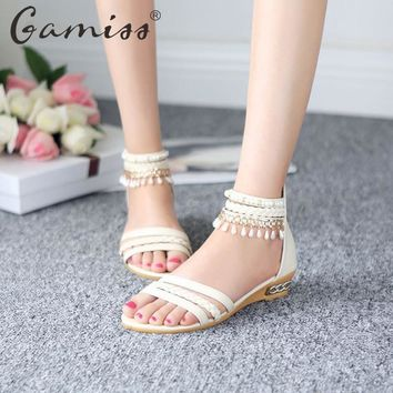 Gamiss Lady Bohemian Sandals Gladiator Weave Hollow Beading Wedges Shoes Low Heel Casu