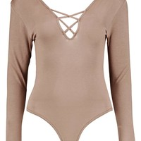 Tall Nakita Lace Up Front Long Sleeve Bodysuit