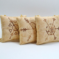 Snowflake Christmas Tree Ornaments - Decorations - Door Knob Hangers - Winter - Primitive - Hand Stitched - Gold - Brown - Geometric Shapes
