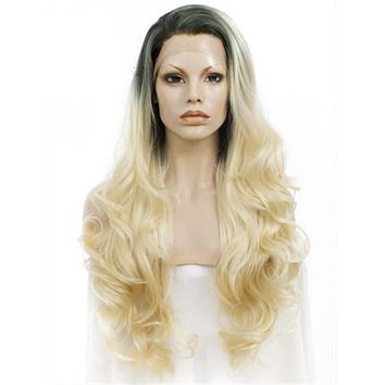Long Black Root To Bright Blonde Ombre Wave Synthetic Lace Front Wig