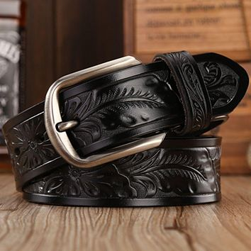 fashion leather belt men designer belts women vintage style pin buckle  cowboys flower waist strap classice