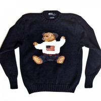 Polo Ralph Lauren Sit Down Bear Sweater Men's Size Medium (M)