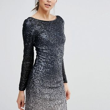 Coast Ella All Over Sequin Long Sleeved Dress at asos.com