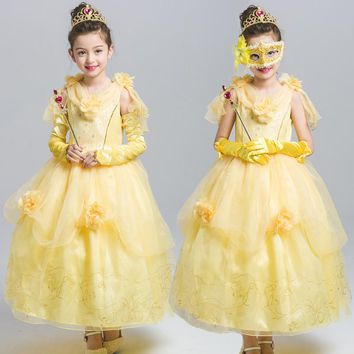 Summer Girls Belle Dresses Princess Costume Party Flower Vestido Clothing Beauty and the Beast Yellow Dress Sleeveless Clothes