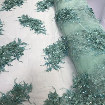 Shop Lace Fabric Beaded Embroidery Lace Fabric Diamonds 3D Flower Mint Mesh Dress Wedding Decoration Bridal Veil By The Yard