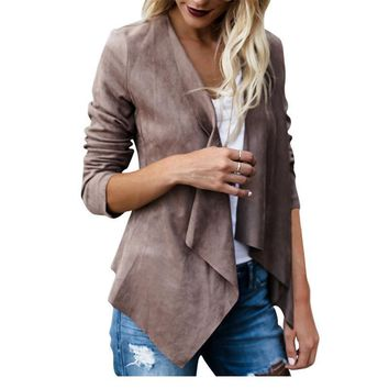 Women Irregular Faux Suede Leather Revers Coat Basic Jacket Autumn Turn-down Collar Windbreaker Slim Bomber Jackets