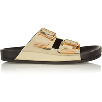Givenchy | Metallic leather flat sandals | NET-A-PORTER.COM