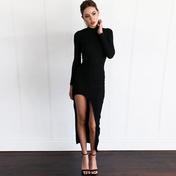 Long Sleeve Ribbed Bodycon Dress with Side Splits