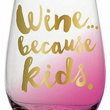 20 oz Big Stemless Wine Glass with Funny Saying quotChillin With My Beachesquot printed with Gold Foil Metallic Print