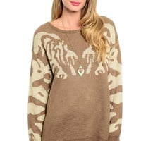 Long Sleeve Mix Print Oversize Knit Sweater