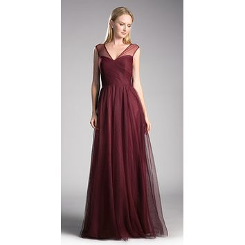 Deep Red Illusion V-Neck and Back Long Formal Dress Sleeveless