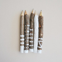 hand painted graphite twig pencils