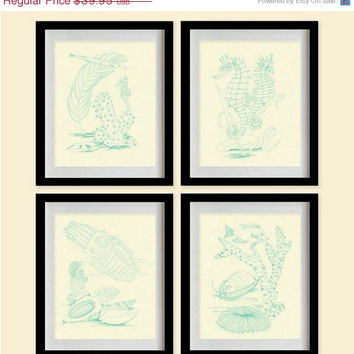 ON SALE Sea Coral Art Print - Persian Green,Algae,Creamy White - Set of 4 - 8X10 - Fan Coral, Plants, Weeds, Fish, Squid, Seahorse - No. 01