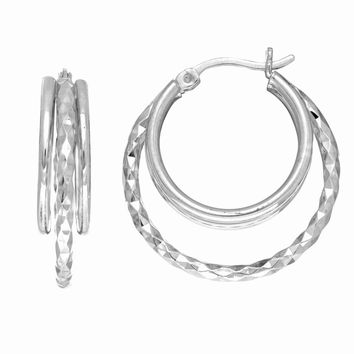 Silver with Rhodium Finish Diamond Cut 2 Open Circle Hoop Earring with Hinged Clasp