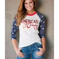 Women's American Honey Baseball Long Sleeve T-Shirt - White
