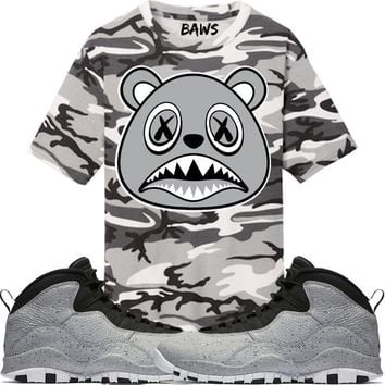 Shadow Baws Camo Sneaker Tees Shirt - Jordan 10 Light Smoke Grey