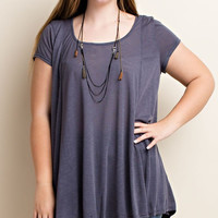 Plus Size Cap Sleeve Loose Fit Top