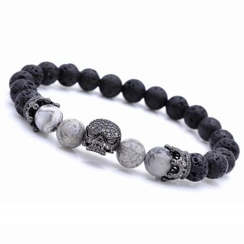 Edgy Trendy Skeleton Skull Black Natural Beads Strand Lava Rock Stone Bracelet for Men's by Ritzy