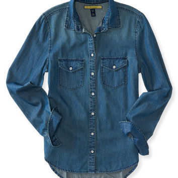 Prince & Fox Long Sleeve Dark Wash Chambray Button Down - Aeropostale